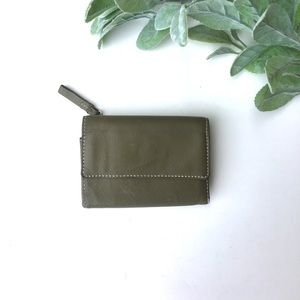 Sage green genuine leather trifold wallet
